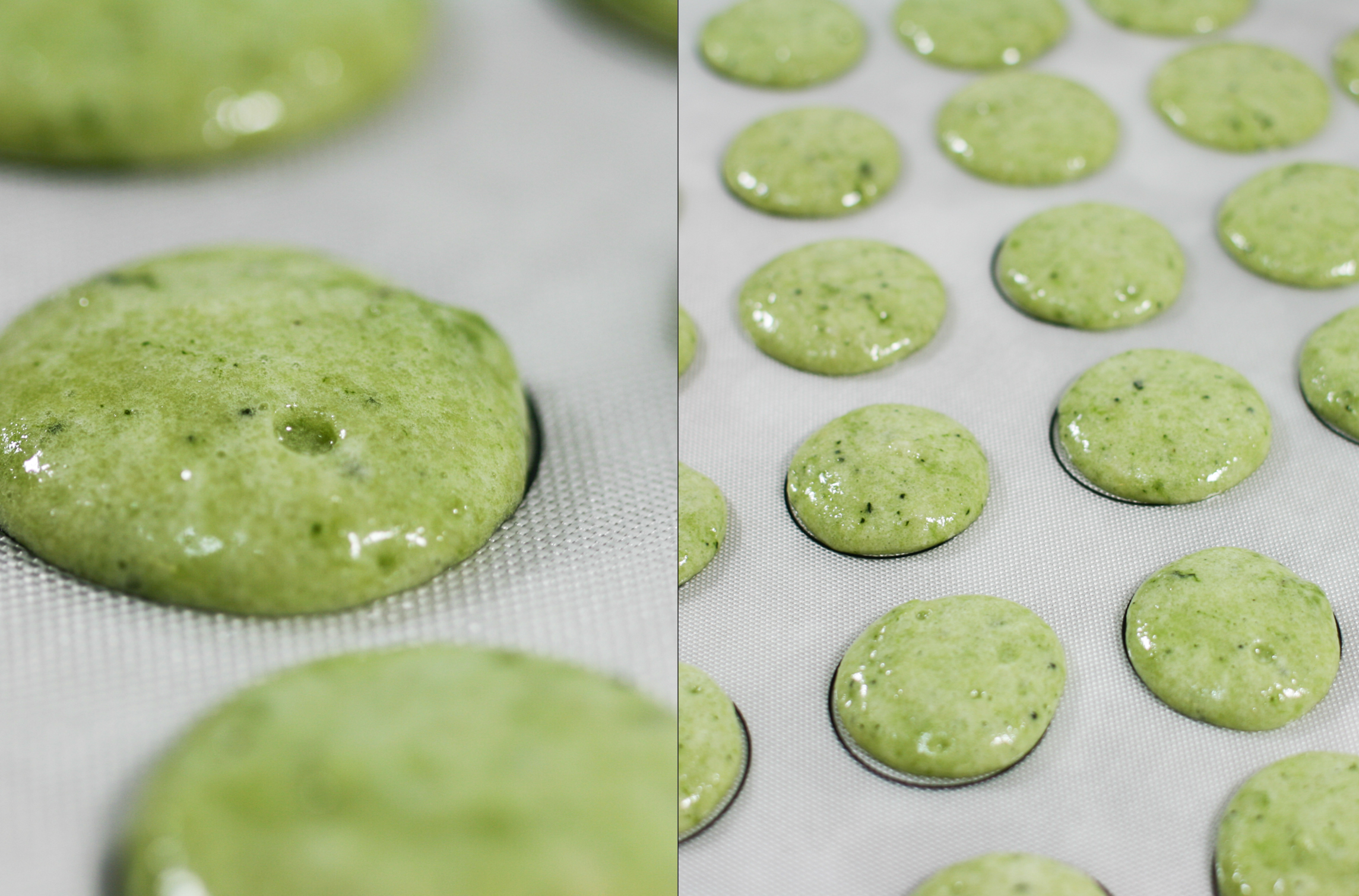 Air bubbles rise to the top of the piped macaron after 3 slams/raps on ...