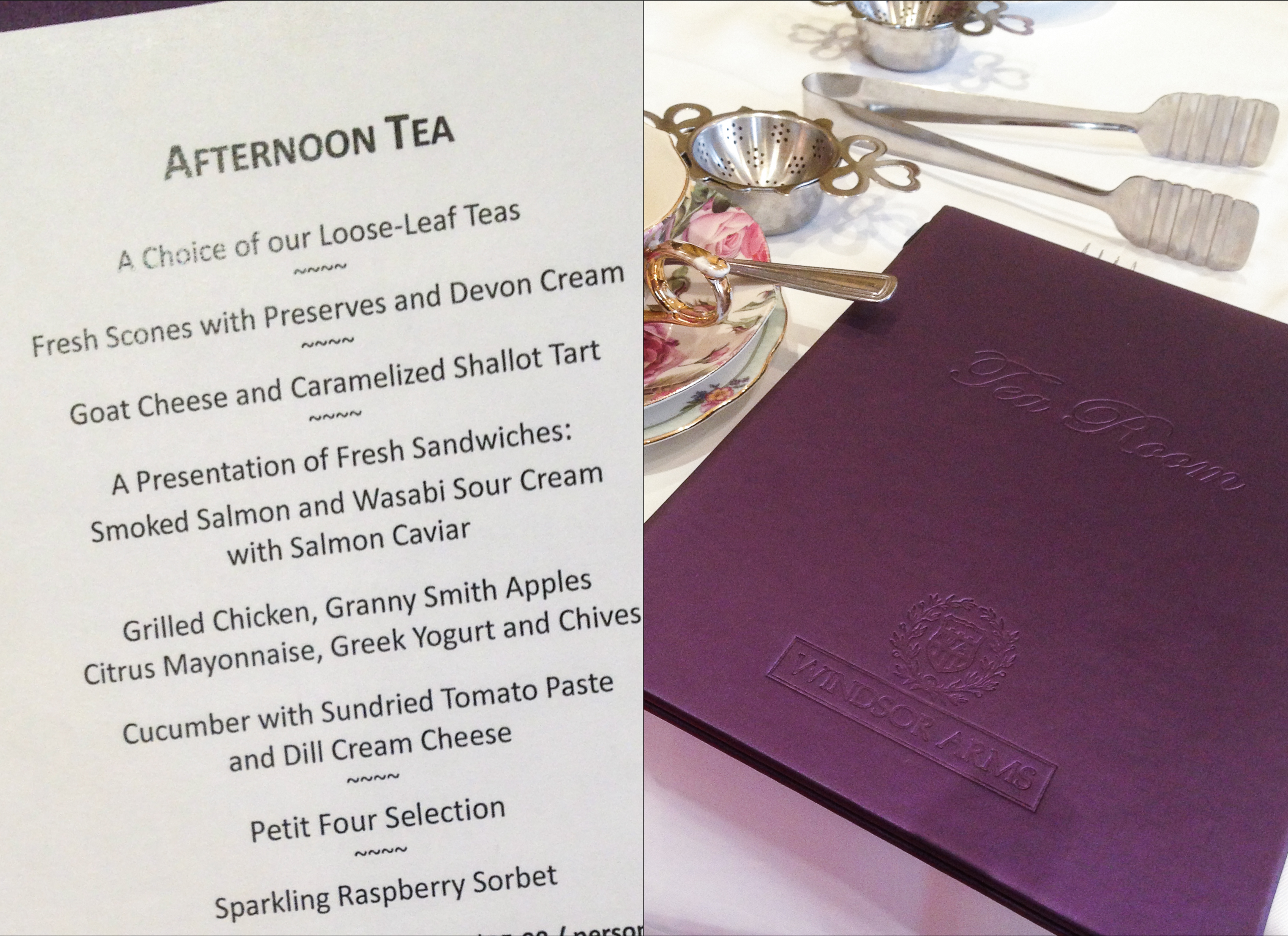 A set menu for afternoon tea at the Windsor Arms.