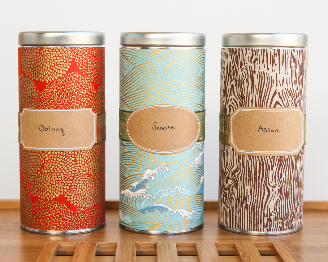 diy japanese washi tea tins thirsty for tea. Black Bedroom Furniture Sets. Home Design Ideas