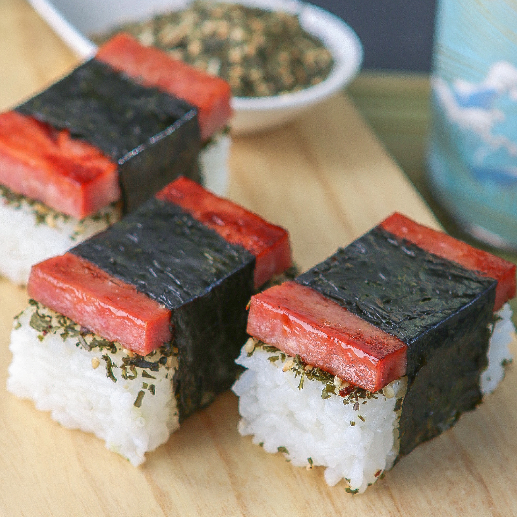 Thirsty For Tea Bite Size Spam Musubi With Green Tea Furikake