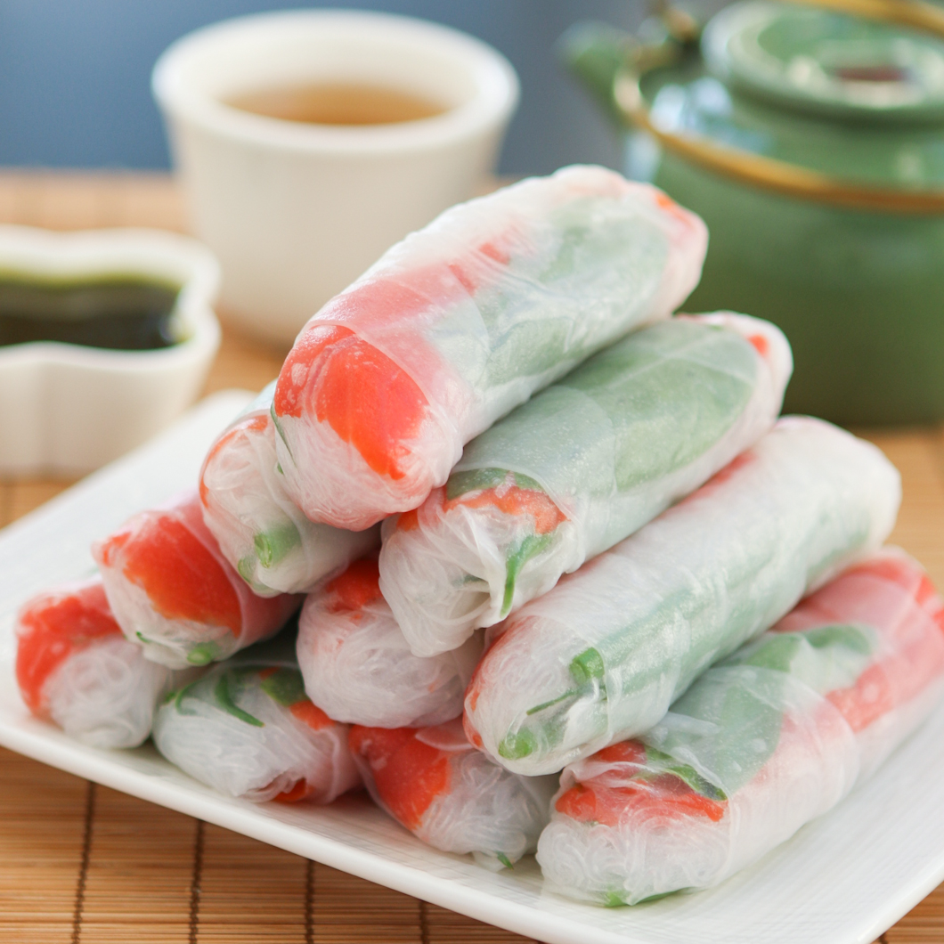 Thirsty For Tea Smoked Salmon Spring Rolls