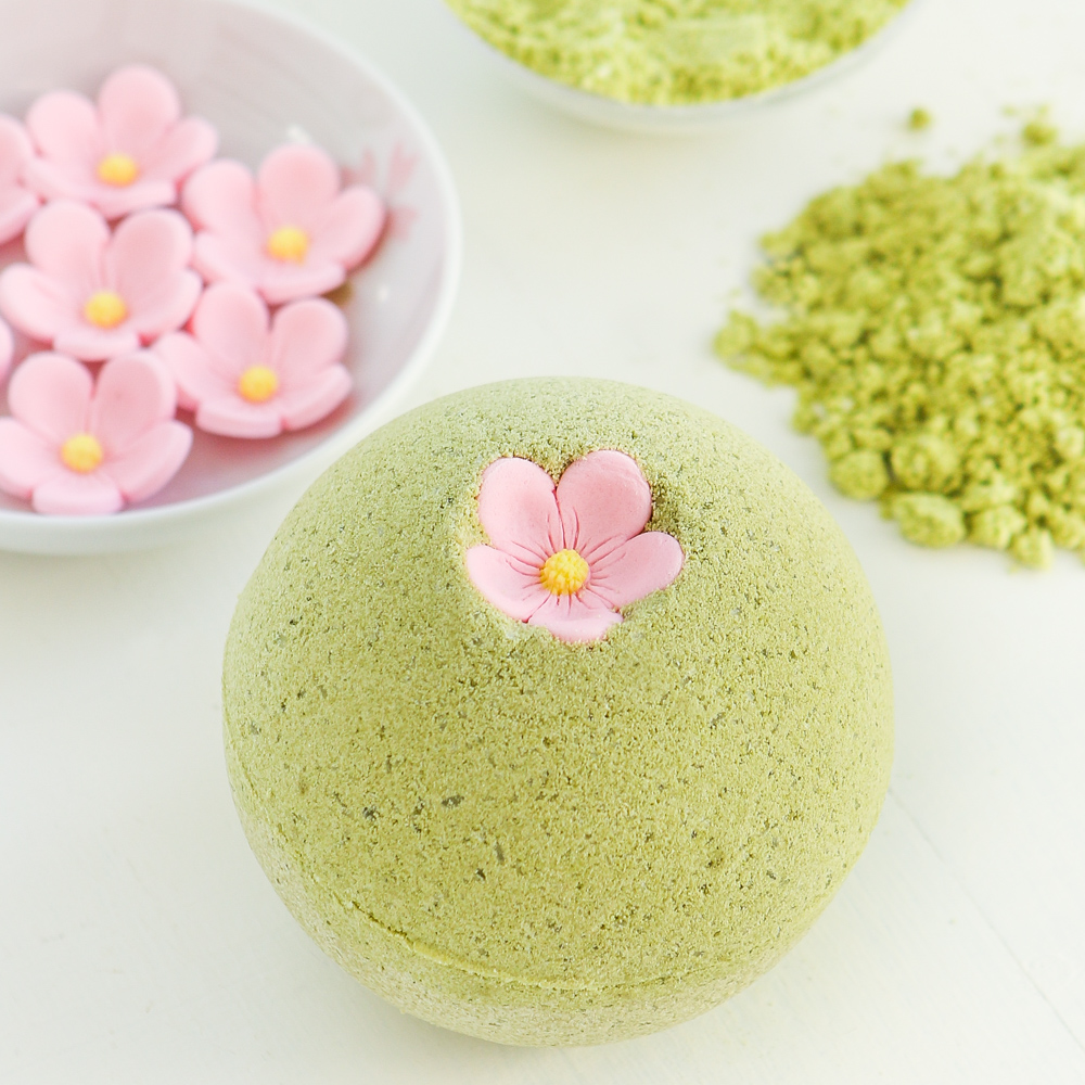 Sakura green tea bath bombs thirsty for tea i decorated many with everyday cupcake sprinkles which is when the idea of attaching a sakura looking icing flower to these fizzy bath treats seemed like a izmirmasajfo